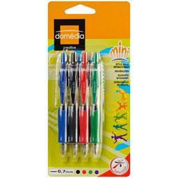 Domedia Creative, Mini stylo bille retractable 0,7 mm- 4 couleurs assorties, les 4 stylos