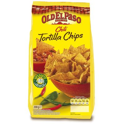 OLD EL PASO APERITIF CHIPS TORTILLAS CHIPS CLASSIQUE CHILI 200G STD