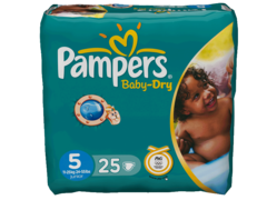 Couches PAMPERS Baby Dry junior, taille 5, 11 a 25kg, 25 unites