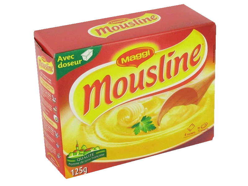 Puree nature Mousline 4 portions individuelles de 31,25g
