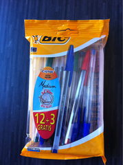 Bic Stylos bille Crystal Original 4 couleurs assorties le paquet de 12