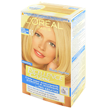 L'Oreal, Excellence Creme 01 blond ultra clair naturel, creme super-eclaircissante protectrice et revitalisante, a la pro-keratin