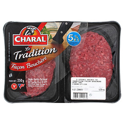 Steak hache Charal Facon bouchere 5%mg 2x125g