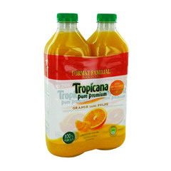 pur jus d'orange sans pulpe pure premium tropicana 2x1.5l