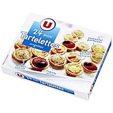 Assortiments de mini tartelettes aperitif U, 24 pieces, 300g
