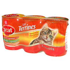 Patee chats Lycat Les Terrines Multi-varietes 3x400g