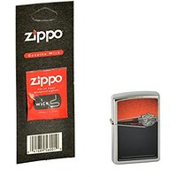 Briquet zippo harley davidson 60.000.141.1 chrome plus mèche de rechange, zippo collection 2015 (chromé)