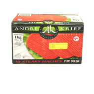 Steack haches kasher pur boeuf ANDRE KRIEF, 10x100g