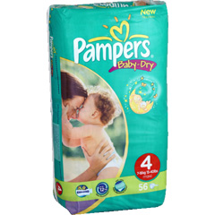 Couches PAMPERS BABY DRY GEANT Taille 4 X56 7-18 kg