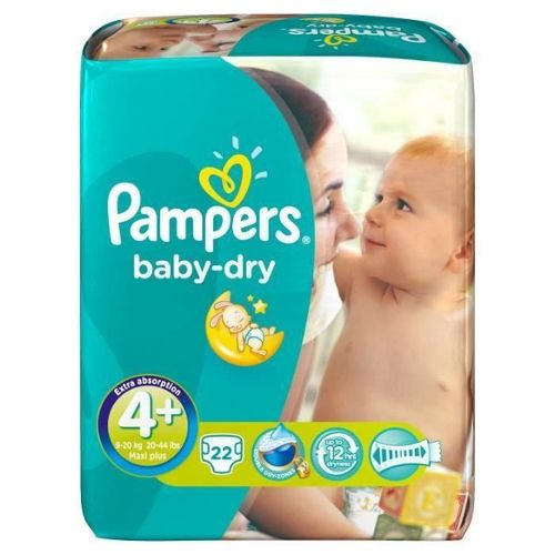 Pampers baby dry paquet couches bébé T4 + maxi plus x22