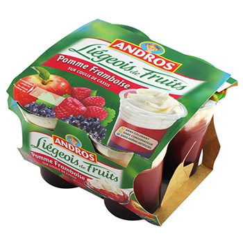 Liegois de fruits Andros Pomme/framboise/cassis 4x100g