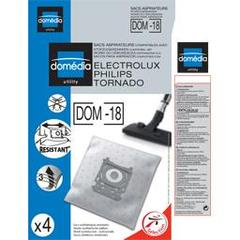 Sacs aspirateurs DOM-18 compatibles Electrolux, Philips, Tornado, le lot de 4 sacs synthetiques resistants