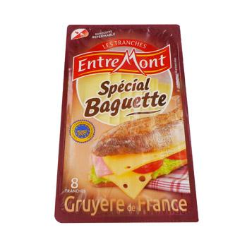 Gruyere en tranches au lait cru special baguette entremont for Fromage en special