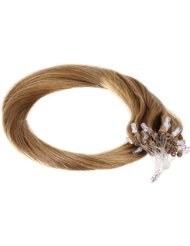 Just Beautiful Hair and Cosmetics Lot de 100 extensions Remy Loop avec micro anneaux pour pose à froid Blond foncé...