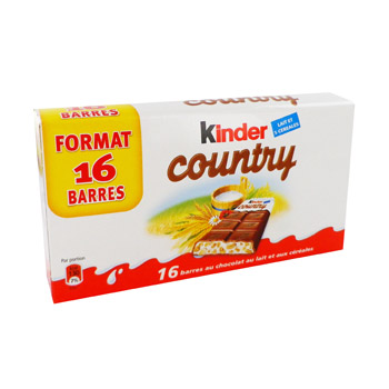 Country - Barres chocolatees au lait et cereales Format 16 barres!