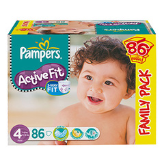 Couches Pampers Active Fit Family pack x86