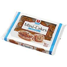 Mini cakes aux pepites de chocolat U, 12 pieces, 450g