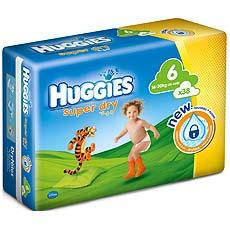 Couches Superdry jumbo HUGGIES, taille 6, 11 a 25kg, 38 unites
