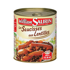 Saucisse lentille Famille Gourmande William Saurin 840g