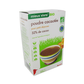 Auchan poudre cacaotee bio Max Havelaar -500g