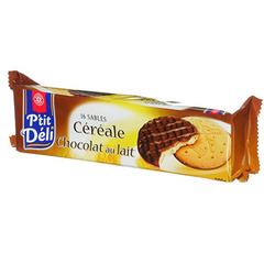Biscuits sable P'tit Deli Cereale chocolat lait 200g