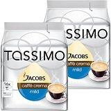 Tassimo Jacobs Caffè Crema Doux & Velouté, Rainforest Alliance Vérifié, Lot de 2, 2 x 16 T-Discs