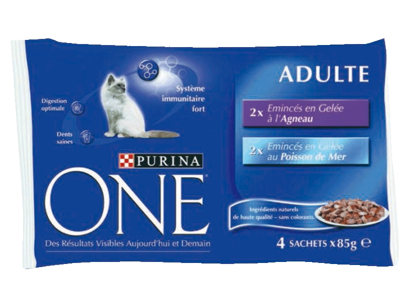 Aliment pour chat Eminces en Gelee agneau poisson Purina ONE, 4x85g