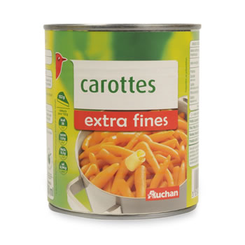 Auchan carottes extra fines 530g