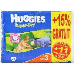 Couches Super Dry HUGGIES, taille 3, 5 a 9kg, 63 unites