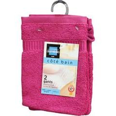 Domedia, Gants de toilette fushia 16x21 cm, le lot de 2