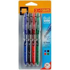 Domedia Creative, Stylo bille retractable BallTech Click 0,7mm, coloris assortis, les 3 stylos