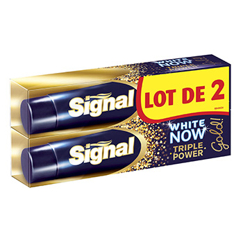 Dentifrice Signal White Now Gold triple power tube 2x50ml