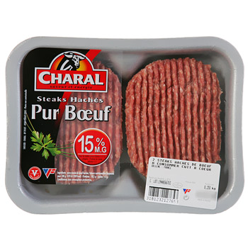 Steak hache 15%MG Charal 2X125g