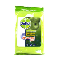 Dettol Complete Clean Green Apple Floor Wipes 15 Pieces (Pack of Three)