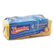 SPONTEX 4 Eponge Tradition N°2 Stop Graisse - Lot de 3