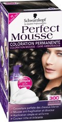 Coloration permanente sans ammoniaque PERFECT MOUSSE, brun noir n°300
