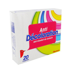 Anti decoloration - 20 lingettes Evite le tranfert de couleurs.