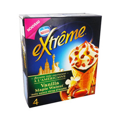 Cones glaces a l'americaine Mapple Walnut EXTREME, 4 unites, 440ml