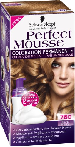 Coloration permanente sans ammoniaque PERFECT MOUSSE, blond praline n°750