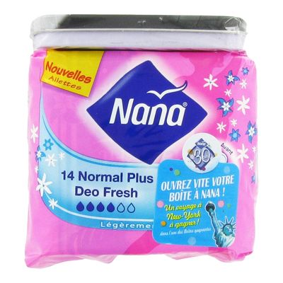 Serviettes normal ultra plus deo-fresh Nana, paquet de 14 unites