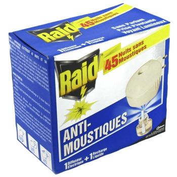 raid diffuseur liquide recharge 45 nuits tous les produits insecticides prixing. Black Bedroom Furniture Sets. Home Design Ideas