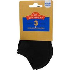 Top budget Chaussettes invisibles sport noir junior t35/38 LE LOT DE 3
