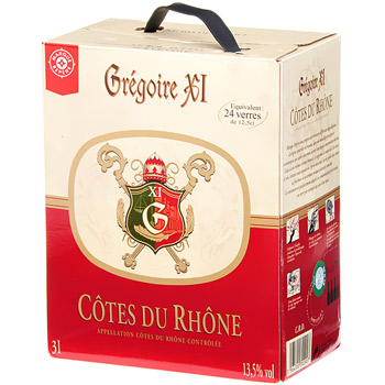 Vin rouge AOC Cote du Rhone Bag in Box 3l