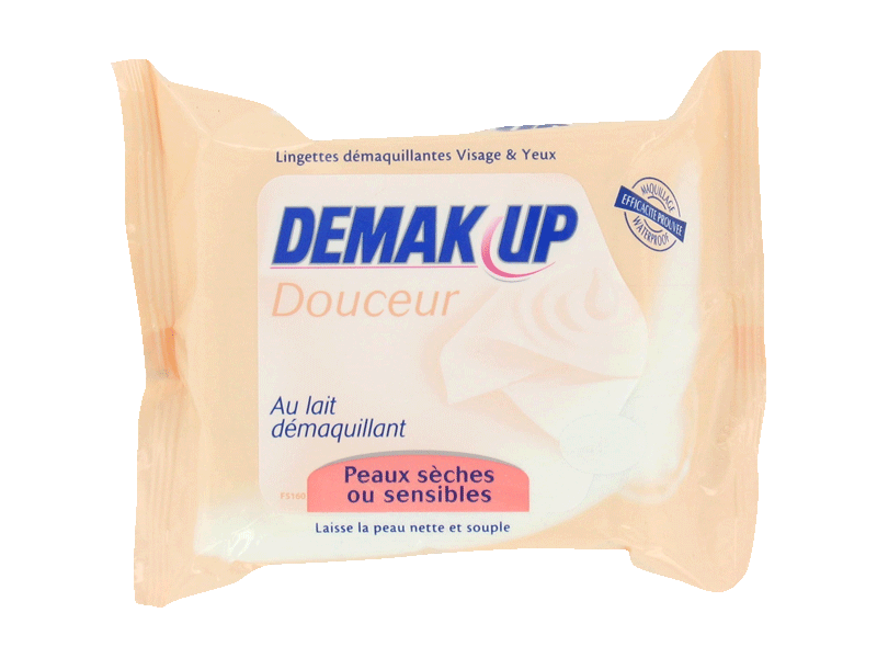 Lingettes demaquillantes lait Demak'up 2x25 peaux seches ou sensibles