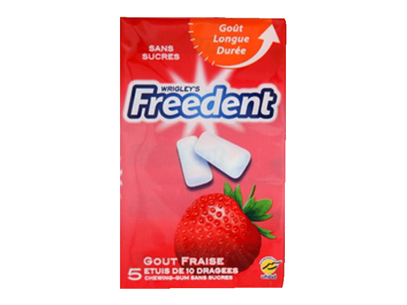 Chewing-gum Freedent Fraise 5x10 dragées 70g