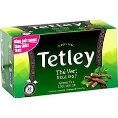 Tetley boite 20 sachets tir press the vert reglisse