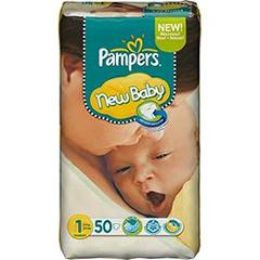 Couches New Naby Newborn PAMPERS, taille 1, 2 a 5kg, 50 unites