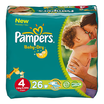 Pampers, Couches baby-dry, taille 4 : 7-18 kg, le paquet de 26