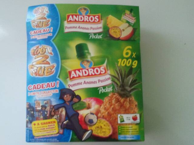 Compote pomme-ananas-passion ANDROS Pocket, 6 gourdes, 600g