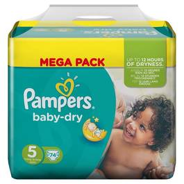 Pampers babydry couches bébé mega t5 junior x74